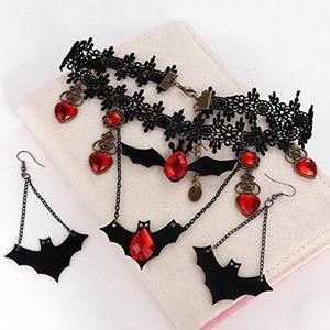 NEW Black Choker Necklace & Earrings Set Halloween